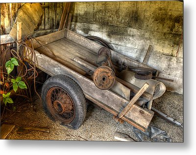 Old Wagon In The Barn Metal Print