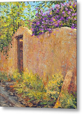 Old Wall And Lilacs Metal Print by Steven Boone