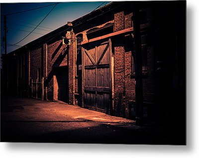 Old Warehouse Building At Night In Georgetown Seattle Metal Print by Brian Xavier