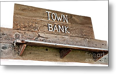 Old Western Town Bank Sign  Metal Print