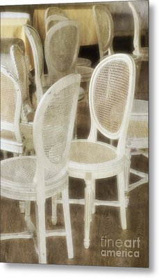 Old White Chairs Metal Print by Carlos Caetano