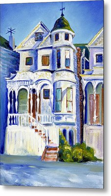 Metal Print featuring the painting Old White Victorian In Oakland California by Asha Carolyn Young