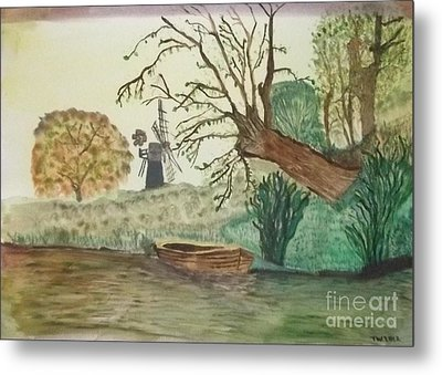 Old Willow And Boat Metal Print by Tracey Williams