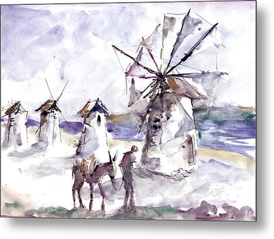 Old Windmills At Bodrum Metal Print by Faruk Koksal