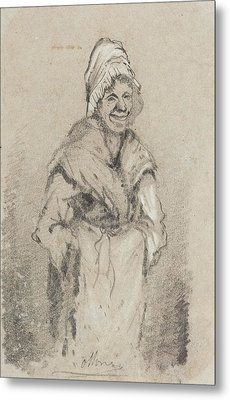 Old Woman From Normandy Full Face Pencil On Paper Metal Print