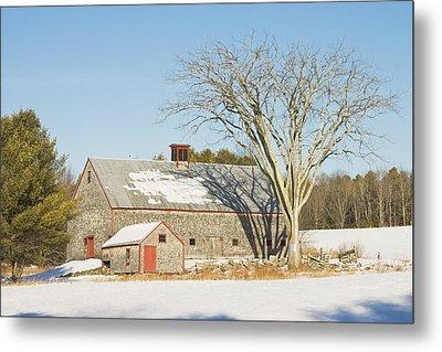 Old Wood Shingled Barn In Winter Maine Metal Print
