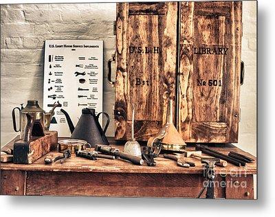 Old  Wood Workbench Metal Print