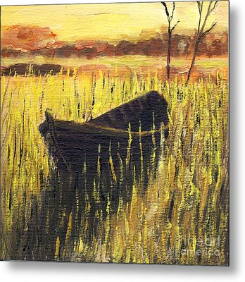 Old Wooden Boat In The Reeds  Metal Print by Randy Sprout