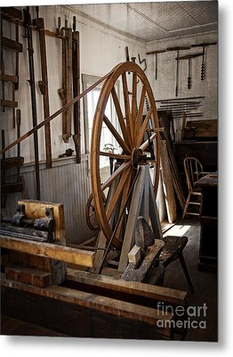 Old Wooden Treadle Lathe And Tools Metal Print