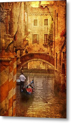 Old World Gondola Metal Print