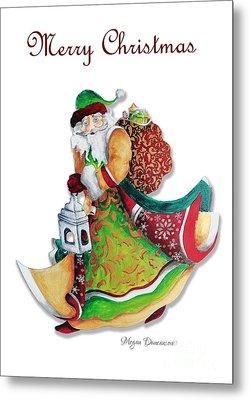Old World Santa Christmas Art Original Painting By Megan Duncanson Metal Print by Megan Duncanson