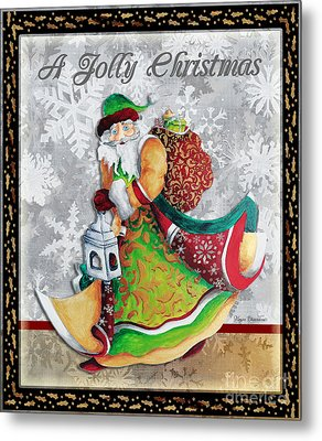 Old World Santa Clause Christmas Art Original Painting By Megan Duncanson Metal Print by Megan Duncanson
