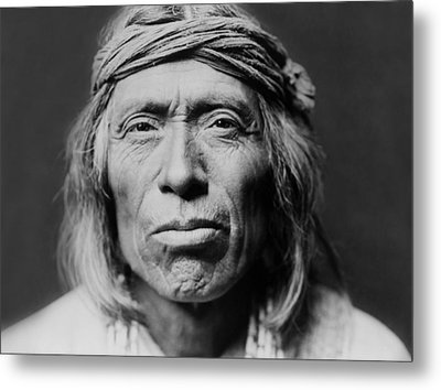 Old Zuni Man Circa 1903 Metal Print by Aged Pixel
