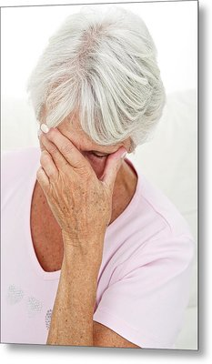 Older Lady With Headache Metal Print