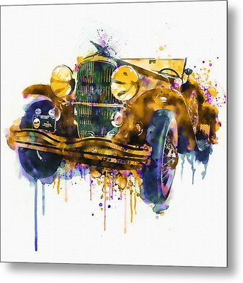 Oldtimer Automobile In Watercolor Metal Print by Marian Voicu
