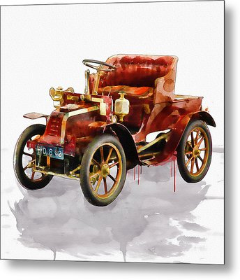 Oldtimer Car Watercolor Metal Print by Marian Voicu