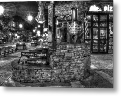Ole Smoky Tennessee Moonshine In Black And White Metal Print by Greg and Chrystal Mimbs