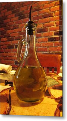 Metal Print featuring the photograph Olive Oil On Table by Cynthia Guinn