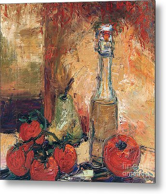 Olive Oil Tomato And Pear Still Life Metal Print