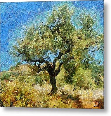 Olive Tree On Van Gogh Manner Metal Print