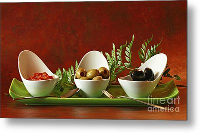 Olives And Salsa Delight Metal Print by Inspired Nature Photography Fine Art Photography