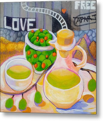 Olives Behind A Wall Metal Print by Corey Habbas