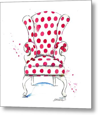 Olivia Chair Metal Print by Roleen  Senic