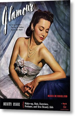 Olivia De Havilland On The Cover Of Glamour Metal Print