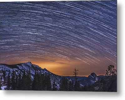 Olmstead Point Star Trails Metal Print by Cat Connor