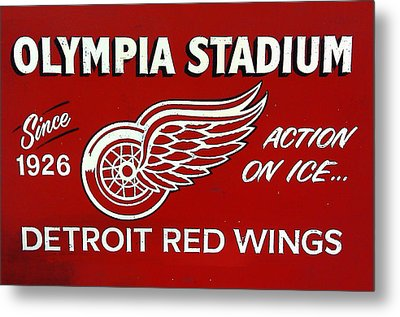 Olympia Stadium - Detroit Red Wings Sign Metal Print by Bill Cannon