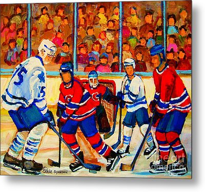 Olympic  Hockey Hopefuls  Painting By Montreal Hockey Artist Carole Spandau Metal Print by Carole Spandau