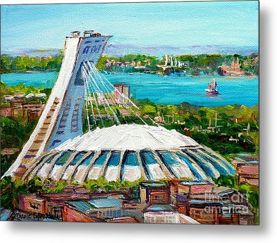 Olympic Stadium Montreal Painting Velodrome Biodome Heritage Art By City Scene Artist Carole Spandau Metal Print by Carole Spandau