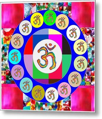 Om Mantra Dedication  Devotion Symbol Assembly By Artist N Reiki Healing Master Navinjoshi Metal Print