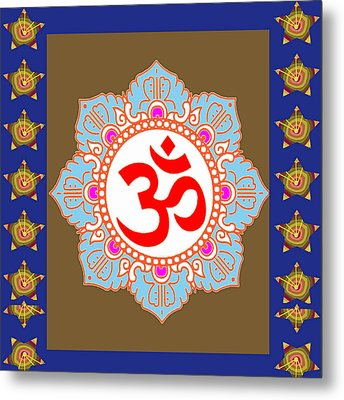 Metal Print featuring the photograph Om Mantra Ommantra Chant Yoga Meditation Tool by Navin Joshi