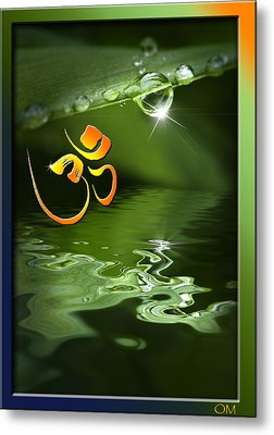 Metal Print featuring the mixed media Om On Green With Dew Drop by Peter v Quenter