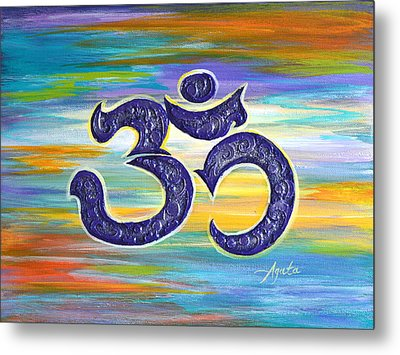 Metal Print featuring the painting Om Purple by Agata Lindquist