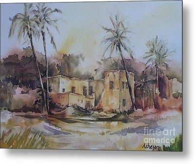 Omani House Metal Print by Donna Acheson-Juillet