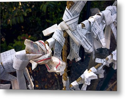 Omikuji Fortune Telling Papers - Kyoto Japan Metal Print by Daniel Hagerman