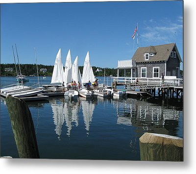 On A Beautiful Maine Summer Morning On The Island Of North Havenjunior Sailing Participants Rig Sailboats Metal Print by Downeast Yacht Shots- Ted Fisher Photography