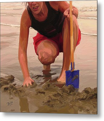 Metal Print featuring the painting On A Dutch Beach by Nop Briex