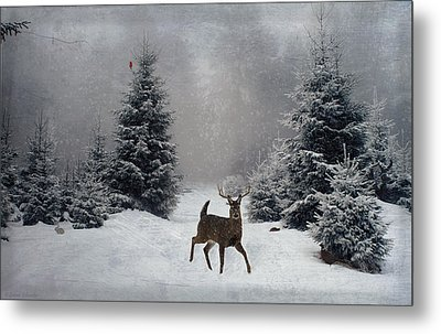 On A Snowy Evening Metal Print
