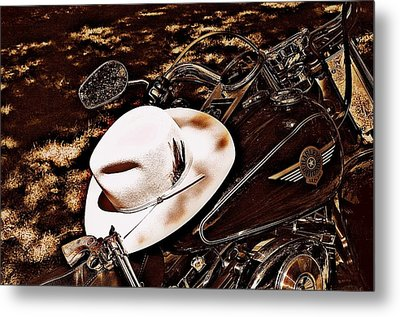 Metal Print featuring the photograph On A Steel Horse by Karen Kersey