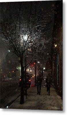 On A Walk In The Snow - Grants Pass Metal Print by Mick Anderson