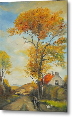 Metal Print featuring the painting On Country Road  by Sorin Apostolescu
