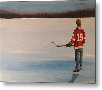 On Frozen Pond -  Stevie Metal Print by Ron  Genest