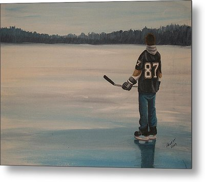On Frozen Pond - The Kid Metal Print by Ron  Genest