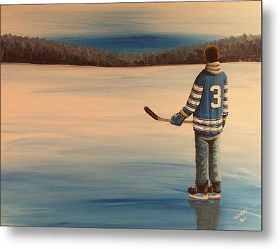 On Frozen Pond -  Winter Classic 2014 Metal Print by Ron  Genest