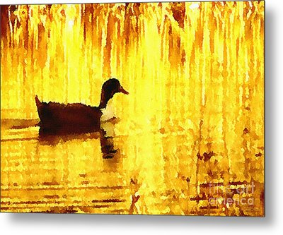 Metal Print featuring the digital art On Golden Pond by Cristophers Dream Artistry