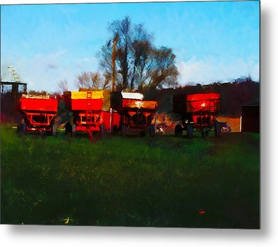 Metal Print featuring the digital art On Hwy 49 North Of Waupaca Wisconsin  by David Blank