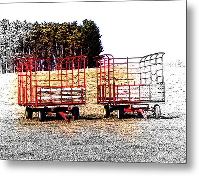 Metal Print featuring the digital art On Hwy B West Of Ogdensburg by David Blank